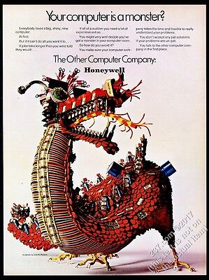 1969 dragon made of electronic parts photo Honeywell Computer vintage print ad