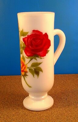 Avon Espresso Cup Milk Glass Grand Red Yellow Roses Collector's