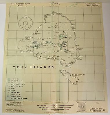 WWII 1943 CONFIDENTIAL ARMY AIR FORCES CHART MAP No 66 CAROLINE & TRUK ISLANDS