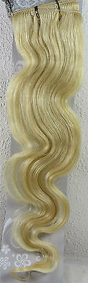 "Womens 22"" Remy Human Hair Clip Extensions 70g BODY Wave Blonde #60"