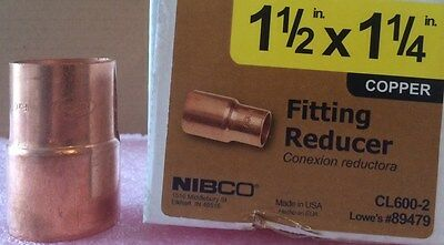 NIBCO 1 1/2 inch x 1 1/4 inch Copper Reducer Fitting - NEW -  Plumbing Fitting
