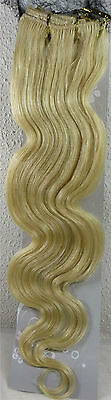 "Womens 22"" Remy Human Hair Clip Extensions 70g BODY Wave Light Blonde #613"