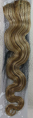 "New 22"" Human Hair 15Clip Extensions 70g BODY Wave Mixed Blonde #27/613"