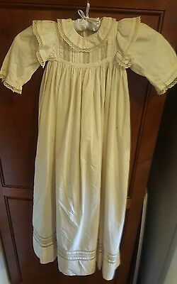 Antique Vintage Off  White Baby Christening/Baptismal  Dress / Gown With Slip