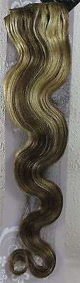 "22"" 100% Human Hair 15Clip Extensions 75g BODY Wave Mixed Blonde #8/613"