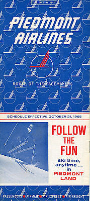 Piedmont Airlines October 31, 1965 System Timetable