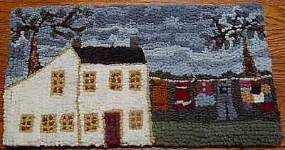 Oatmeal Saltbox with Clothes Line Primitive Rug Hooking KIT with Cut Wool Strips