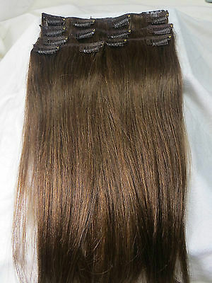 "A++ 22"" 100% Human Hair Clips In Extensions 7Pcs 15 clips 75g Medium Brown #6"