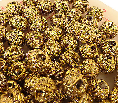 """144 plastic shank buttons braided woven knot design dark gold color ball 5/8"""""""