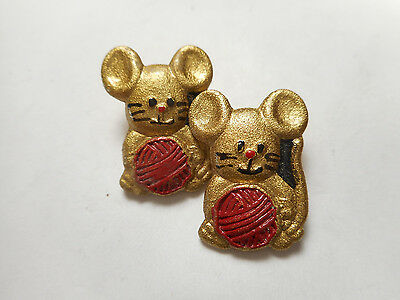 """Matching Pair Gold Mouse Red Yarn Metal Vintage Button 13/16"""" RS Mice"""