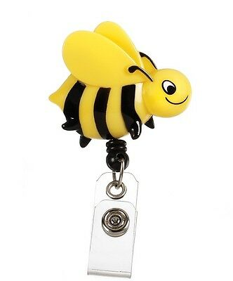 Retractable Yellow Black Bumble Bee Medical Badge Delux 3-D ID Clip Holder New