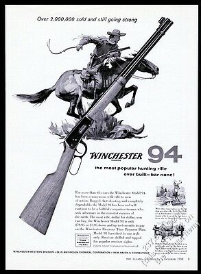 1959 Winchester 94 rifle cowboy on horse art vintage print ad