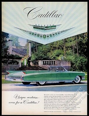 1960 Cadillac Eldorado convertible green car photo vintage print ad