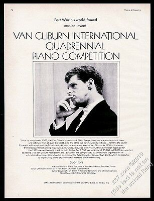 1972 Van Cliburn photo International Piano Competition vintage print ad