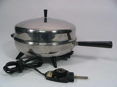 "Vintage Farberware 12"" 310-A Electric Fry Pan Skillet Stainless Steel Dome Top"