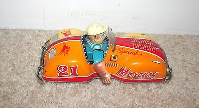 GREAT 1950's TBC MERCURY SPECIAL TIN RACING TOY CAR JAPAN WIND UP LITHO WORKS