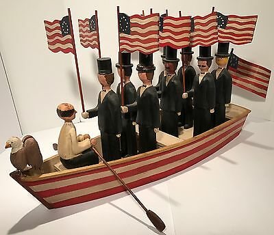 Magnificent WWII Era Patriotic Red,White&Blue CARVED AMERICAN FOLK ART ROW BOAT!