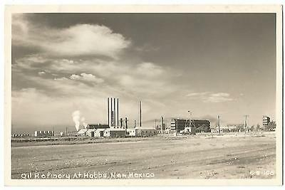 Oil Refinery at Hobbs New Mexico NM (Lea County) RPPC Real Photo Postcard 1940's