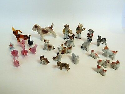 Lot of 26 Vintage Figurines Dogs Musicians Germany + Blown Glass Animals