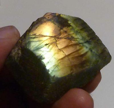 Bright Gold Blue, Labradorite Polished Slab for cabochons 239cts Yellow Flash