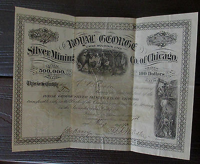 1873 Royal George Silver Mining Co,of Chicago Capital Stock Certificate