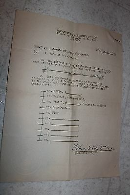 1946 WWII World War II War Trophy Document 3 pages Japanese Military Equipment
