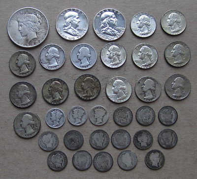 Mixed US Silver Coin Lot- Peace $1, Franklins,Washingtons,Merury & Barber dimes