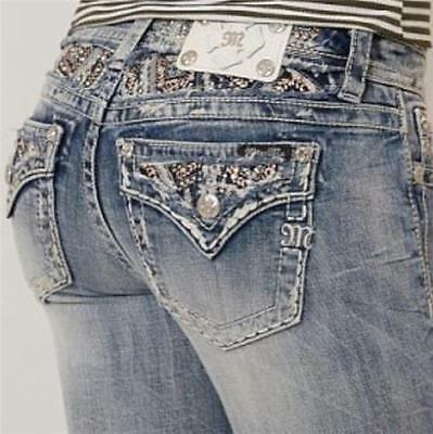NWT Miss Me Women Sequined Jewels Flap Pocket Easy Straight Jeans 30 $109