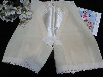 Vtg Ivory Satin Lace Front Long Leg Girdle Metal Garters Shapetex M