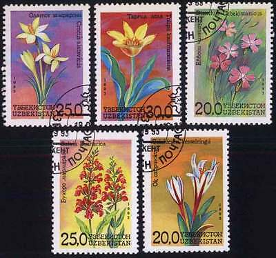 UZBEKISTAN (01/1) 1993 Flowers Paintings Used 5 diff. Stamps ! Gift Children !