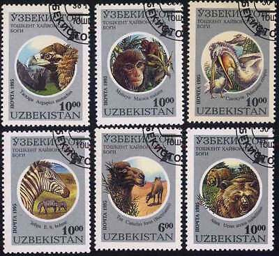 UZBEKISTAN (04/1) 1995 Animals Bear Eagle Used 6 diff. Stamps ! Gift Children !
