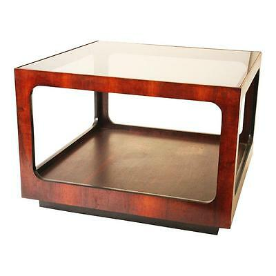 Mid Century Modern LANE SIDE TABLE Smoked Glass Top wood vintage square end 60s