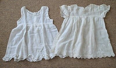 Antique Baby or Doll Gown Dress Lot White Cotton Anglaise Lace Petticoat