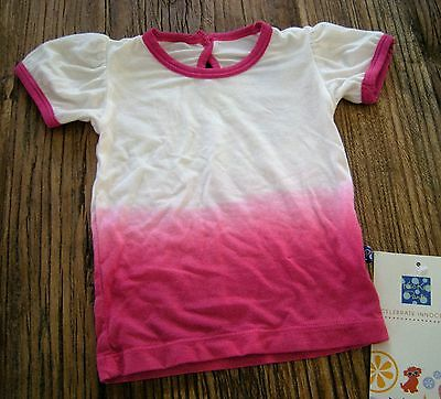 NWT Kickee Pants Puff Short Sleeve Tee Bubblegum Dip Dye Ombre Bamboo 3-6 month