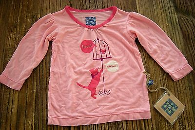 NWT Kickee Pants Puff Long Sleeve Tee Top Lotus Kitty Cat & Bird Cage 3-6 months