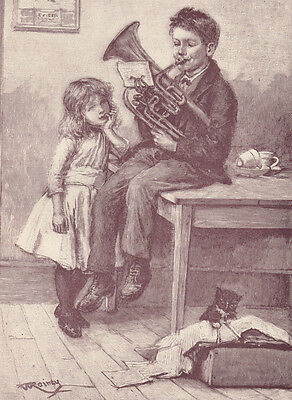 Early Boy Playing French Horn For Sister & Pet Cat Music Antique Print 1890
