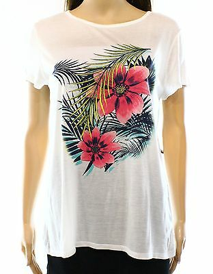 Soprano NEW White Women's Size Small S Floral Print Graphic Tee T-Shirt #509