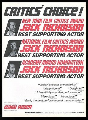 1970 Jack Nicholson photo Easy Rider movie trade Academy Award print ad