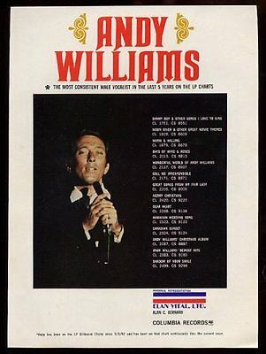 1967 Andy Williams color photo unusual trade booking print ad