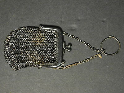 Antique French Small Size Gun Metal Chainmail Coin Purse made in France