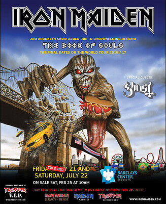 "Iron Maiden / Ghost ""book Of Souls World Tour 2016/17"" Brooklyn Concert Poster"