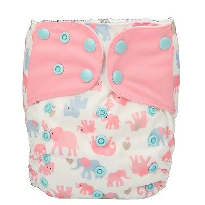 Baby Cloth Diaper Nappy Pocket Reusable Washable Microfleece Elephant for Girls