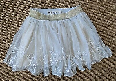 Mini Boden Embroidered Tulle Pretty Lace Tutu Skirt 3-4 yrs Cream Gold Waistband