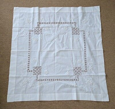 Vintage White Tablecloth Cutwork Embroidered Flowers Needle Lace 36 x 34""