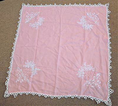 Vtg 40's Pink Linen Tablecloth Crochet Edging Embroidered White Tree Silhouette