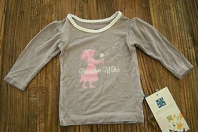 NWT Kickee Pants Puff Long Sleeve Tee Feather Dandelion Wishes Girl 3-6 months