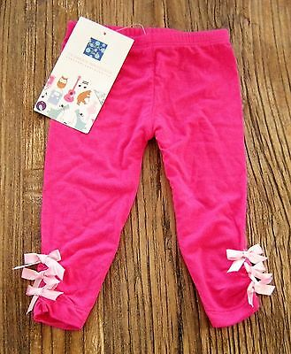 NWT New Kickee Pants Solid Calypso Pink Leggings w/ Ribbon Bows Bamboo 3-6 mos