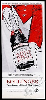 1959 Bolligner Champagne 1953 bottle and waiter red art vintage print ad