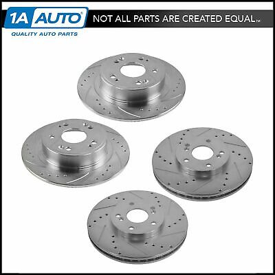Nakamoto Front & Rear Cross Drilled & Slotted Zinc Coated Disc Brake Rotors New