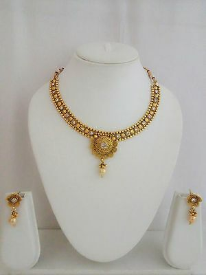 South Indian Jewelry Necklace Set Bollywood Ethnic Gold Plated Traditional NH7